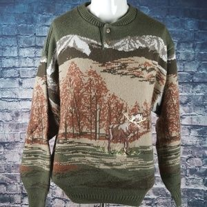 John Henry XL Wool Blend Moose Sweater